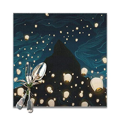 Emonye The Mage Placemats for Dining Table,Washable Placemat Set of 6, 12x12 Inch