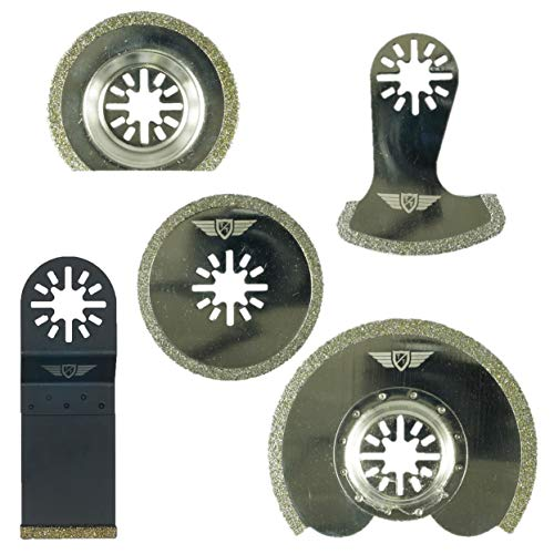 5 x TopsTools UNKD5 Diamant Mörtel Klingen für Bosch Fein (Nicht-StarLock) Makita Milwaukee Einhell Ergotools Hitachi Parkside Ryobi Worx Workzone Multitool Multi Tool Zubehör