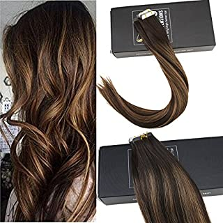 Sunny 16inch Tape in Hair Extensions Ombre Balayage Remy Human Hair Darkest Brown Fading to Medium Brown Skin Weft  Balayage Tape Hair  Extensions Human Hair 20pcs/50g