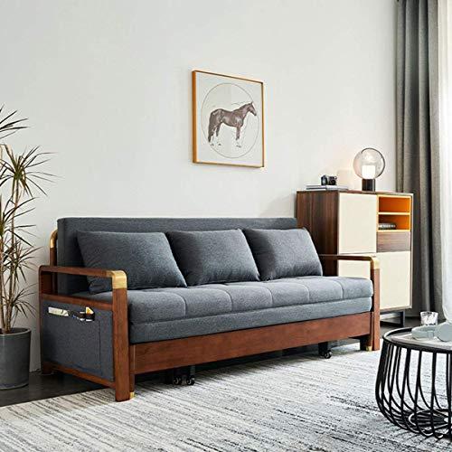 Equipo para el hogar Sofá cama de madera maciza Sofá cama plegable multifuncional para sentarse Cama convertible Adecuado para muebles de sala de estar de apartamentos Fuerte capacidad de carga 1.6