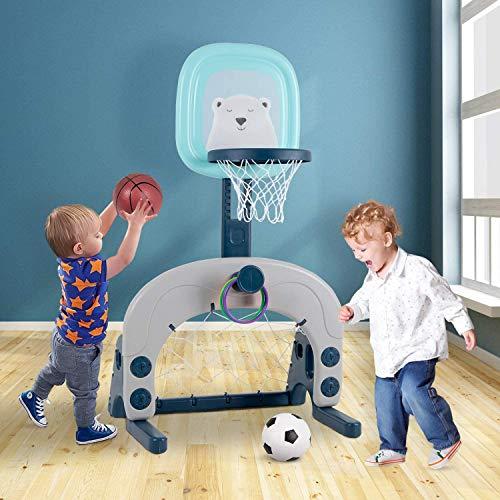 Birtech Basketballkorb Set Kinder Basketballständer 3 in 1 Sport Aktivität einstellbares Basketballspielzeug für Kleinkinder Jungen und Mädchen