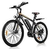 VIVI 26 Pulgadas Bicicleta eléctrica de montaña, Motor de 350 W, 36 V, 10.4 Ah batería extraíble, 32KM/H Bicicleta eléctrica para Adultos.(Naranja 26)