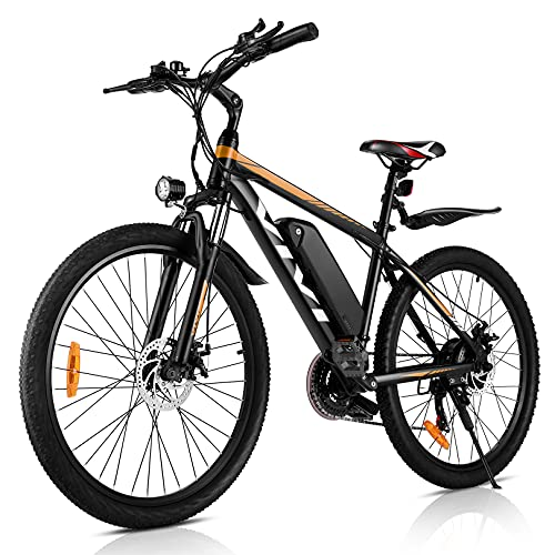 "VIVI Electric Mountain Bike 350W 26"" 36V 10.4Ah Removable Battery E-Bike 25MPH 21 Speed Gears Adult E-Bike Commuter Bike(Orange"