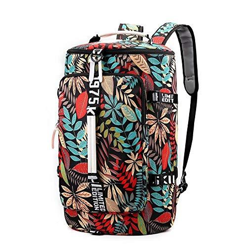 Fslt Large bucket travel backpack ladies men hiking bag luggage travel suitcase shoulder travel bag-Red_Leaves