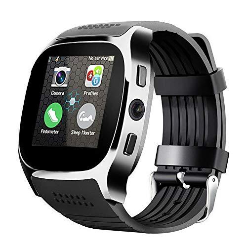 ZITOOP T8 Smart Watch-Telefon mit Remote-Kamera, Unterstützung von SIM-Karte und TF-Karte, Bluetooth, intelligente Positionierung, Schlafüberwachung (Schwarz)
