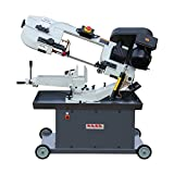 KAKA Industrial Metal Cutting Band Saw,Solid Design Metal Bandsaw, Horizontal Bandsaw, High Precision Metal Band Saw, Build-In Safety Settings, Space Saver Metal Cutting Band Saw (BS-712R)