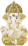 God Ganesha Lord Elephant White and Golden Home Decor Car Dashboard Idol Gift Statue