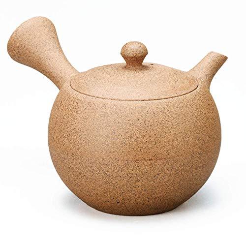 Yamakiikai Tokoname - Tetera japonesa Kyusu de cerámica, 240 cc, temari redondo, color marrón