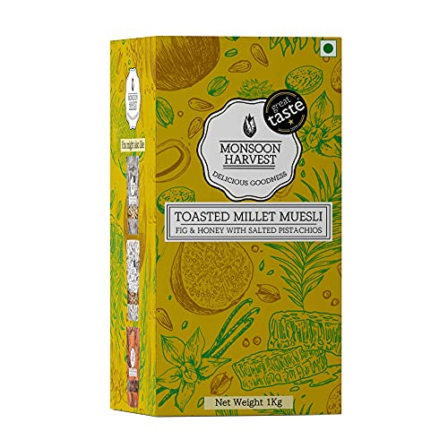 Monsoon Harvest Toasted Millet Muesli - Fig & Honey with Salted Pistachios, Healthy Breakfast with Wholegrains, Nuts and Seeds,...