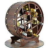 Wooden Wine Rack & Glass Holder Cabinet Natural Wood Wine Display Storage (12 Bottles Round Barrel)