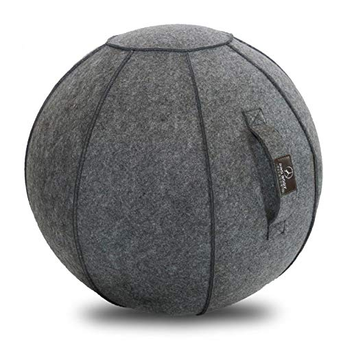 Sitting Ball Chair with Handle for Home, Office, Pilates, Yoga, Stability and Fitness - Includes Exercise Ball with Pump (Himalayan Slate, 24 in)