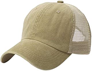 AMAZACER 100% Cotton Mesh Baseball Cap Breathable Outdoors Trucker Hat Ball Cap (Color : Khaki)