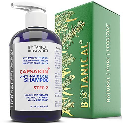 BOTANICAL HAIR GROWTH LAB - Anti-Hair Loss Shampoo - HerbalCeutical CAPSAICIN+ Oil-Free Formula (Step 2) - Hair Loss Prevention for Men & Women, Alopecia Postpartum DHT Blocker - 8 Oz