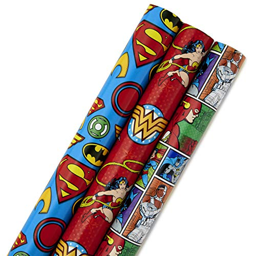 Hallmark Justice League Wrapping Paper with Cut Lines (Pack of 3, 105 sq. ft. ttl.) with Wonder Woman, Superman, Batman and Flash for Christmas, Halloween, Father's Day, Birthdays