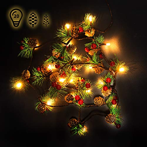 2020 Upgraded Christmas Garland with Lights and Pine Cones, LED String Lights Christmas Bell Pine Needle Pine Cone Red Berries Xmas Wreath Tree Garland for Indoor Decorations 2m/6.6ft, 20 Led