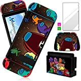 Darrnew Sofa Among Skin per Nintendo Switch Cartoon Cute Fun Skins, Kawaii Unique Kids Men Boys Switch Game Sticker, divertente design alla moda con e pellicola in vetro temperato per Nintendo Switch
