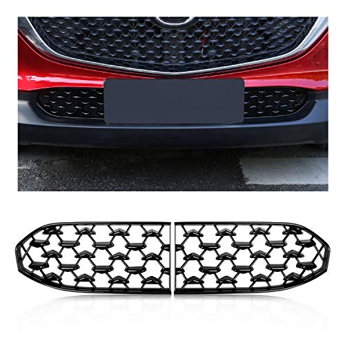 YEE PIN Car Grille Inserts Grille Guards Front Grilles for 2019 2020 2021 Mazda CX-30 DM Series Automotive Exterior Accessories (Black)