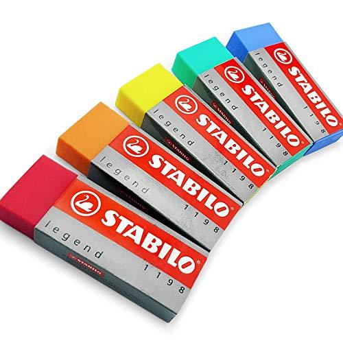 Stabilo Legend Radierer aus Kunststoff, 5Stück, einer von jeder Farbe