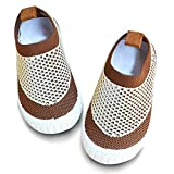 JOINFREE Boys Walking Running Sneakers Kids Breathable Lightweight Sport Indoor Shoes WhiteBrown 13
