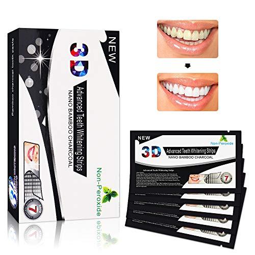 Blanqueador de dientes tiras, 3d Bandas de Blanqueamiento Dental de Carbón Activado, Blanqueador de Dientes Elimina Manchas Dentales - 14 Kits 28 Tiras
