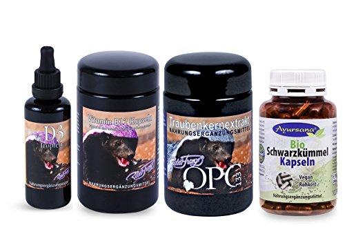 Robert Franz OPC (60 Kapseln) und Vitamin D3 (50 ml) und Vitamin B12 (120 Stück) und Ayursana Schwarzkümmelkapseln (200 Stk.)