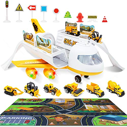 WTOR Toys Construction Car Set Plane Playset Transport Cargo Airplane Education Indoor Toy & Large Play Mat Gift for 3 4 5 6 7-12 Years Old Kids Toddler Children Boys Girls