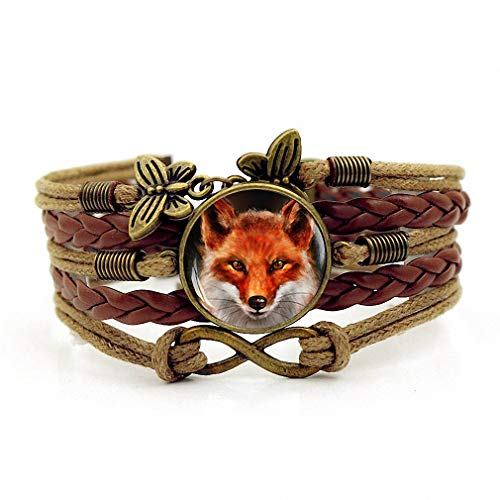 Creativity Handmade Leathers Braided Bracelet Red Fox Cabochon Bracelet Wristband Bracelet Brown