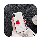 for iPhone 11ケースfor iPhone XR XS Max 7 8プラスファッションハートウォレットPUレザーカードスロットfor iPhone 11 Pro Maxシリコンケース-Wallet Cream-for iPhone 6 6S