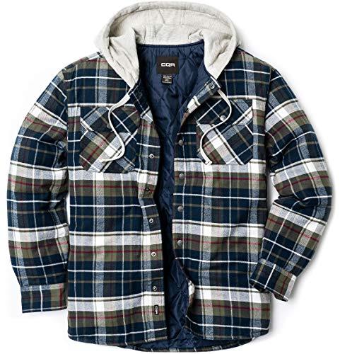 CQR Herren Kapuzen Gesteppte Gefüttert Flanell-Hemd Jacke, Lange Hülse Plaid Button Up Jackets, Hok720 1pack - Midnight Forest, S