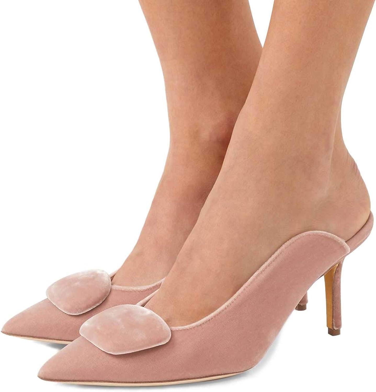 FSJ Women Comfortable Slide Mid Heels Mules Pointed Toe Pumps Retro Sandals shoes Size 4-15 US