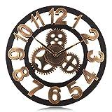 Lafocuse Reloj de Pared Silencioso Madera Industrial Reloj Cuarzo Grande Engranaje Vintage Oro para Bar Salon Comedor Dormitorio 45 cm