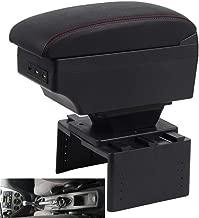 Coche Apoyabrazos para Focus 3 mk3 2011-2019 Doble Capa Caja de Almacenamiento de Consola Central con 3 puertos de carga USB Costuras Negras