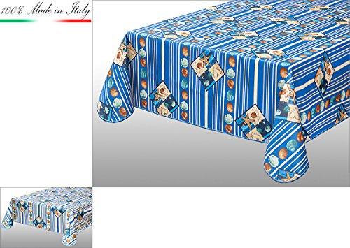 Nappe anti-taches cuisine marine bordure coton plastifié Ultra résistant différentes mesures 100% Made in Italy mod.cinz45 cm 135x230 bleu