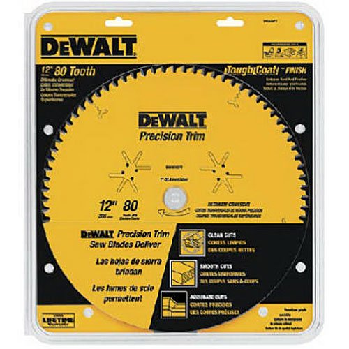 DEWALT DW3232PT Precision Trim 12-Inch 80 Tooth ATB Crosscutting Saw Blade with 1-Inch Arbor and Tough Coat Finish