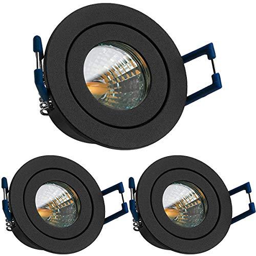 3er IP44 LED Mini Einbaustrahler Set in Anthrazit Grau mit LED MR11 / GU5.3 Strahler von LEDANDO - 2W - 160lm - warmweiss - 60° Abstrahlwinkel - 20W Ersatz - Bad/Dusche - Terrassendach - Wintergarten