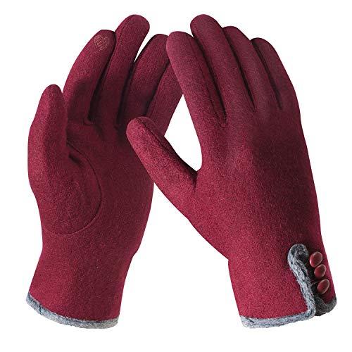 Bequemer Laden Frauen Elegant Fleece Handschuhe, Damen Touchscreen Handschuhe, Freizeit Outdoor Sports Handschuhe, Winter Dicke Warme Gefüttert Smart Schreiben SMS Handschuhe mit Fleecefutter