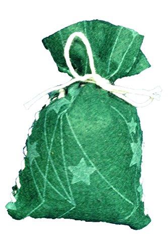 Petra's Bastel News Nähset 24 x Säckchen für Adventskalender in dunkelgrünem Sternefilz inkl. zugeschnittenen Filzteilen, Band, Stopfnadel und Anleitung, Fliz, Tannengrün, 25 x 18 x 5 cm