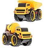 Mozlly Friction Powered Construction Vehicle Toys Set of 2 - Yellow Dump Truck & Concrete Mixer Play Trucks with Sounds & Lights - Interactive Friction Construction Trucks Play Set for Boys - 2 Pack