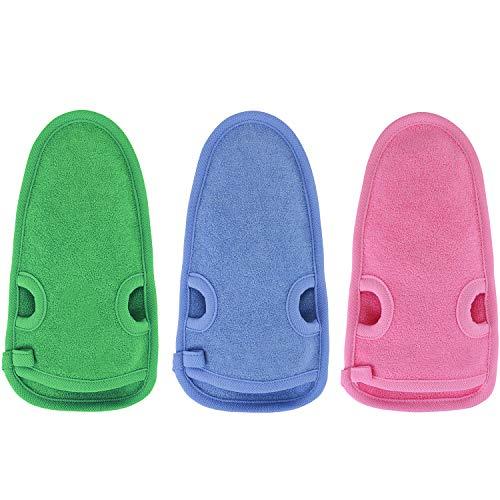 3 Stück Peelinghandschuh rau für Körper & Gesicht aus Bambus + BONUS Saugnapf - Reinigt Porentief - Peeling Handschuh für Hamam & Dusche - Massagehandschuh Grob für Körperpeeling