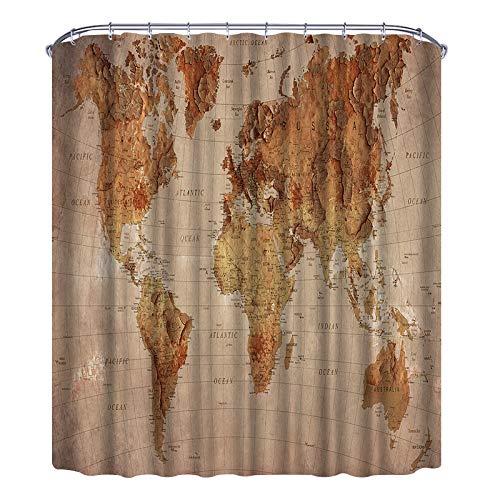 Kalormore Rustikale braune Landkarte Duschvorhang Reise Weltkarte Badvorhang für Schlafzimmer 72 x 72 cm mit Haken
