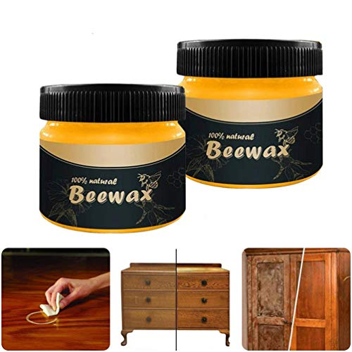 2PC Wood Seasoning Beewax, Traditional Beeswax Polish, Furniture Care Complete Solution Beeswax, for All Wood Types & Colors - Oak, Teak, Dark and Light Wood, Protect and Enhance The Shine