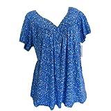 Camiseta de manga corta para mujer, para verano, tallas grandes, vintage, suelta, cuello redondo, básica, elegante, sudadera para adolescentes y niñas azul XXXXL