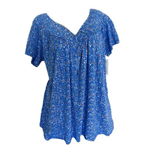Blusa para mujer con estampado de flores, cuello en V, blusa de verano, tallas grandes, camiseta holgada, blusa de manga corta azul XL