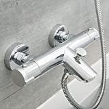 SCHÜTTE 52470 LONDON Badewannenarmatur Thermostat, Wannenarmatur Wannenthermostat mit Verbrühschutz bei 38℃, Mischbatterie Wasserhahn Armatur für Badewanne, Chrom