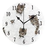 Mnsruu Katze runde Cat Wanduhr stilles Nicht tickendes betriebenes genaues Sweep-Bewegung, dekorativ für Wohnzimmer, Schlafzimmer, Büro