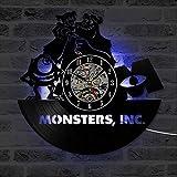 Monsters, Inc. Patrón Vinyl Record Reloj de pared Arte de la pared Reloj decorativo para el hogar Estilo antiguo Reloj de pared LED hecho a mano