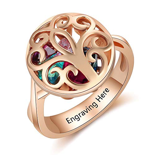 ALBERTBAND Personalized Mothers Rings for Women Family Tree Rings for Mom Simulated Birthstones Heart Caged Locket Rings for Grandmother (Rose Gold)