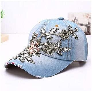VAXT Head Fashion Women Cotton Baseball Cap Baseball Cap Diamond Painting Embroidery Flower Denim Fitted Hat Denim Summer Sun Hat (Color : Light blue, Size : 56-60CM)
