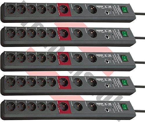 5er Sparpack Brennenstuhl Secure-Tec, Steckdosenleiste mit Überspannungsschutz und Master Slave Funktion (3m Kabel und Schalter) Farbe: anthrazit (8-Fach)