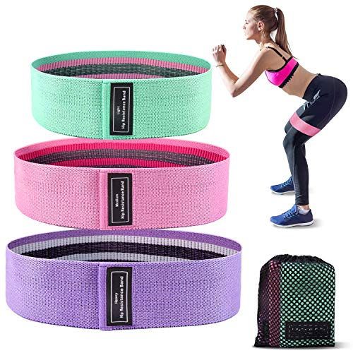 TURN RAISE Resistance Loop Bands, Exercise Bands for Legs and Butt, 3 Levels Workout Bands for Women and Men, Non-Slip Elastic Fitness Resistance Band for Home, Yoga, Pilates